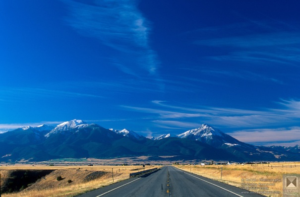 US Highway 89 and Gallatin Mountain Range from Paradise Valley south of Emigrant, Montana